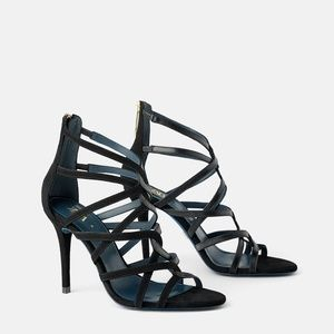 NWT Zara BLUE COLLECTION HEELED LEATHER SANDALS 38